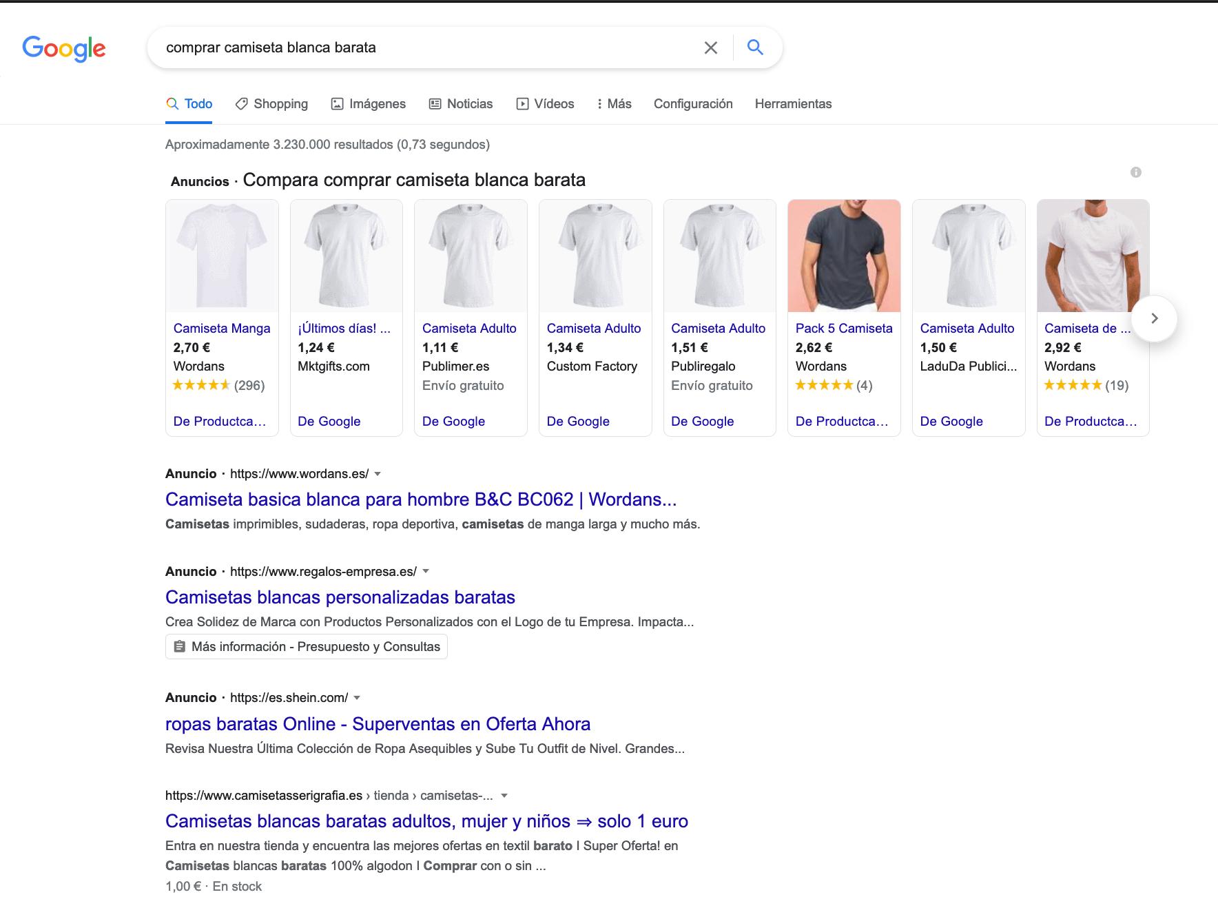ejemplo seo comprar camiseta blanca barata